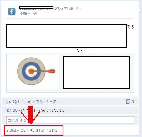 Facebook 各投稿のリーチ数