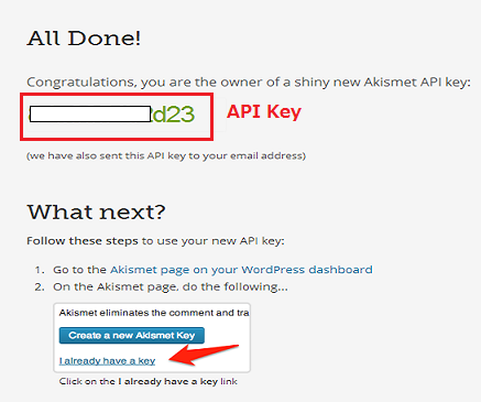 Wordpress Akismet 設定手順7