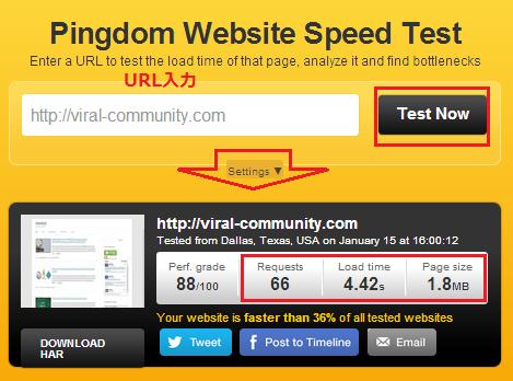 webサイト 表示速度チェック