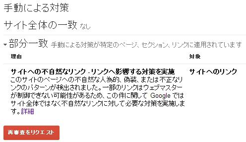 Googleウェブマスターツール ペナルティ通知例