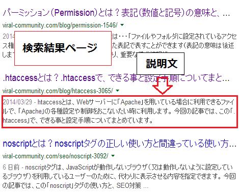 検索結果 メタタグ ディスクリプション設定