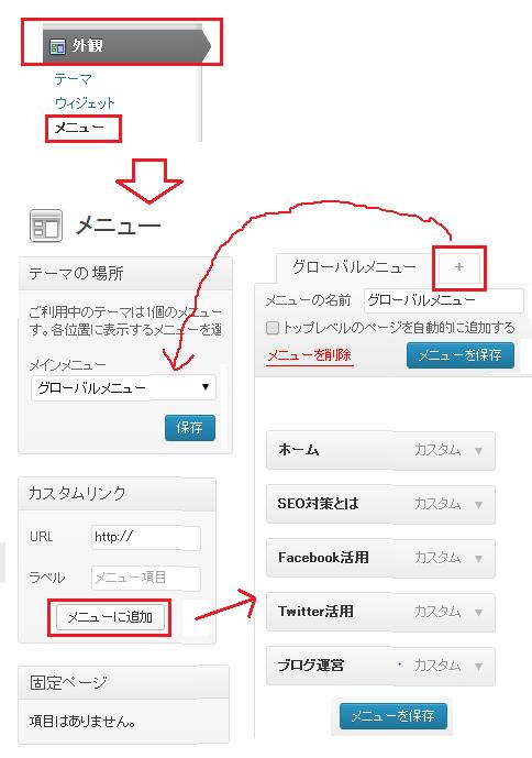 wordpress メニュー設定