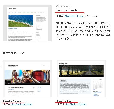 Wordpress デフォルトのテーマ