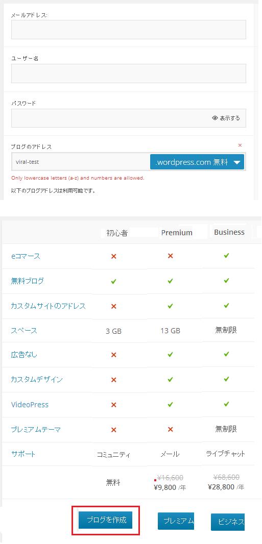 WordPress.com(無料ブログ)の作り方(作成手順)-2