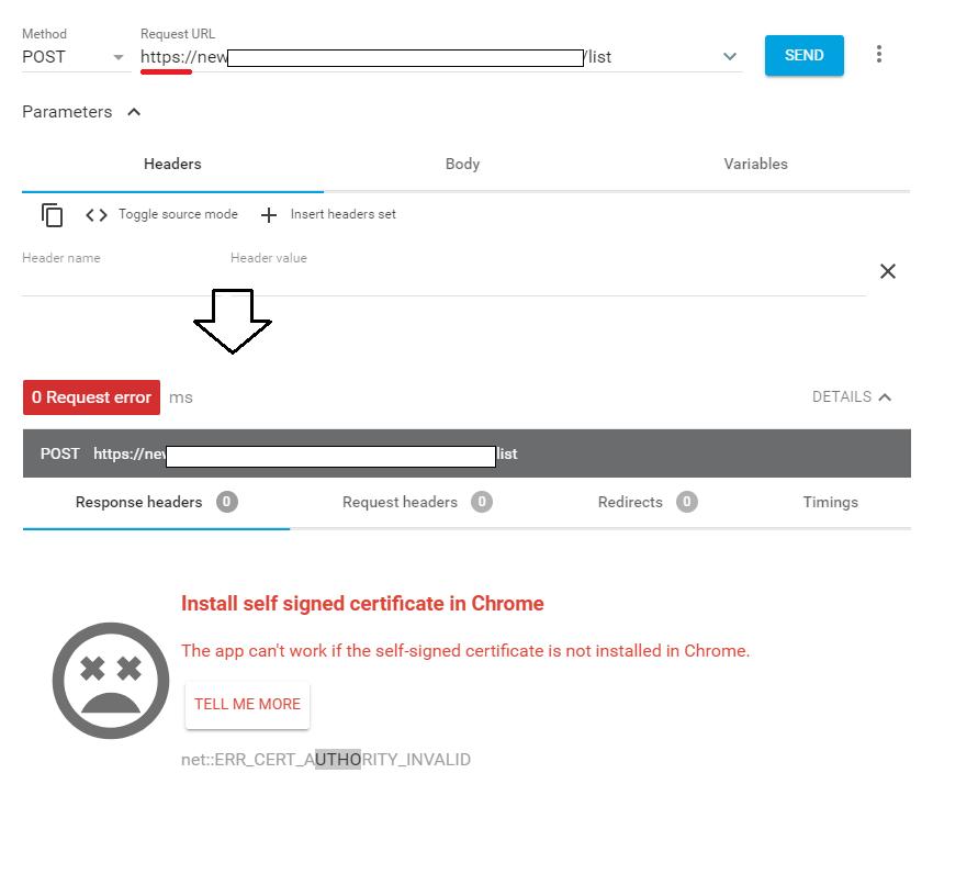 Advanced-REST-client オレオレSSL証明書のエラー-1